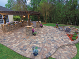 north carolina hardscapes stone paver patio extended from house