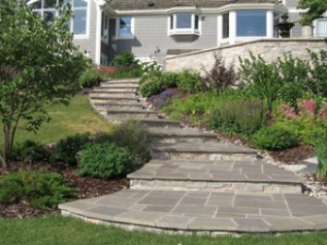 hardscapes Raleigh stone stairs leading to house