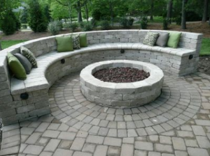 concrete sitting wall around fire pit in raleigh