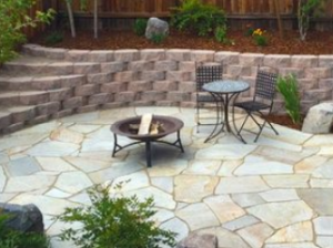 Raleigh stone paver patio with block retaining wall